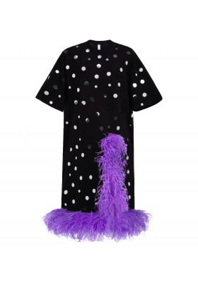 """OVERSIZE T-DRESS """"MIRROR SPLASH"""" WITH CUTOUT AND OSTRICH FEATHER"""