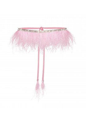 "ONE SIZE BELT ""STONES SPLASH"" WITH OSTRICH FEATHERS"