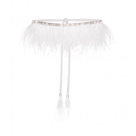"""ONE SIZE BELT """"STONES SPLASH"""" WITH OSTRICH FEATHERS"""