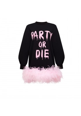 "PRE-ORDER - SWEET DRESS ""PARTY OR DIE"" WITH BOA"