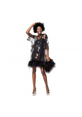 "PRE-ORDER - T-DRESS ""GOLD AND SILVER MIRROR SPLASH"" FROM NET WITH BOA"