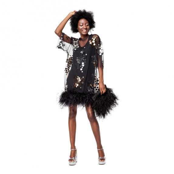 """PRE-ORDER - T-DRESS """"GOLD AND SILVER MIRROR SPLASH"""" FROM NET WITH BOA"""