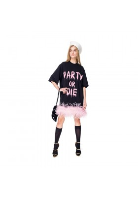 "T-DRESS ""PARTY OR DIE"" WITH BOA"
