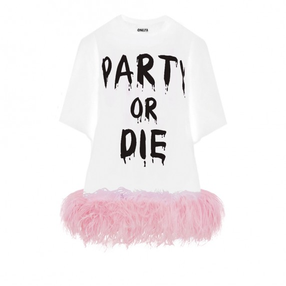 "T-DRESS ""PARTY OR DIE"" WITH OSTRICH BOA"