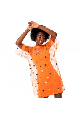 "T-SHIRT DRESS ""MIRROR SPLASH "" NEON ORANGE"