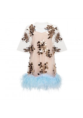 "OVERSIZE T-DRESS ""MIRROR SPLASH"" WITH OSTRICH BOA"