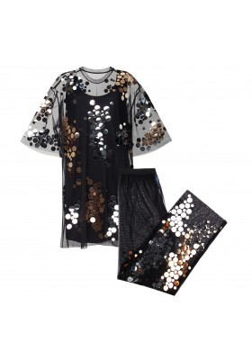 """OVERSIZE T-DRESS AND PENTS """"GOLD AND SILVER MIRROR SPLASH"""" FROM NET WITH BOA"""