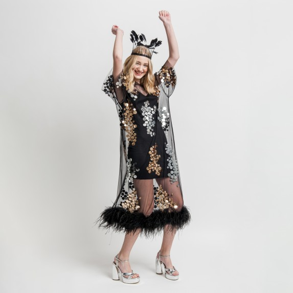 "MIDI T-DRESS ""GOLD AND SILVER MIRROR SPLASH"" FROM NET WITH BOA"