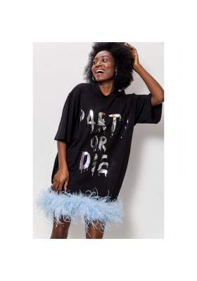 """T-DRESS """"PARTY OR DIE"""" WITH OSTRICH FEATHER"""