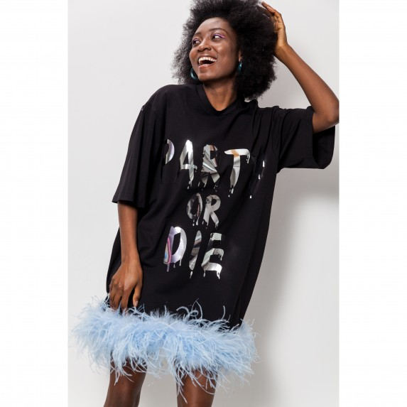 "T-DRESS ""PARTY OR DIE"" WITH OSTRICH FEATHER"