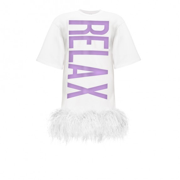 "WHITE T-DRESS BLACK ""RELAX"" WITH WHITE BOA"