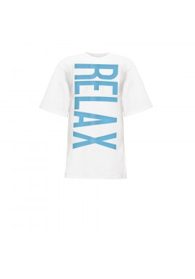 "WHITE T-SHIRT DRESS PINK ""RELAX"""
